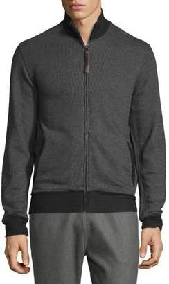 Billy Reid Jacquard Knit Track Jacket, Charcoal