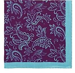 Barneys New York Men's Paisley Wool-Cashmere Pocket Square-Purple