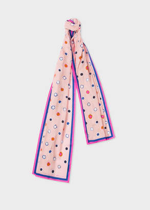 Paul Smith Women's Pink 'Scribble Spot' Print Scarf