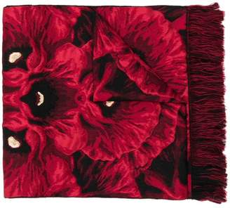 Alexander McQueen fringed poppy jacquard scarf
