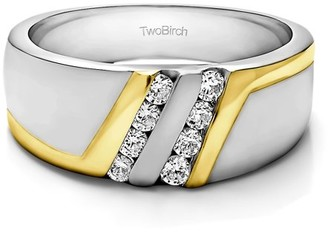 TwoBirch Brilliant Moissanite Mounted in Silver Moissanite Moissanite Designer Inspired Mens Wedding Ring (0.42crt)