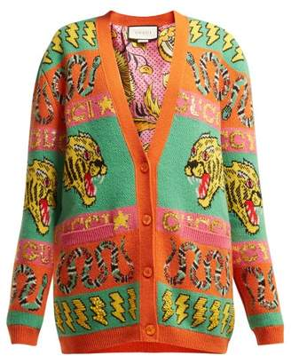 Gucci Tiger And Kingsnake Wool Jacquard Cardigan - Womens - Orange Multi