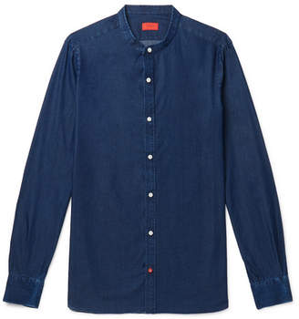 Isaia Slim-Fit Grandad-Collar Cotton-Chambray Shirt