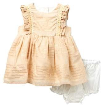 Pippa Pastourelle by and Julie Metallic Stripe Ruffle Dress (Baby Girls)