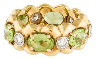 Verdura 18K Peridot & Diamond Ring