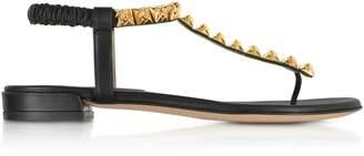 Stuart Weitzman Black Leatherthe Esme Flat Sandals