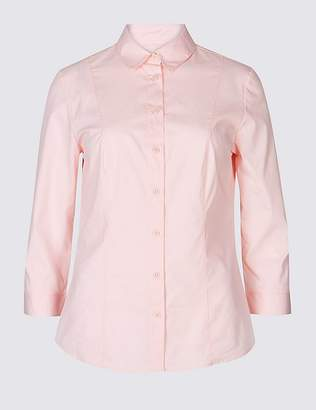 Marks and Spencer Cotton Rich Split 3/4 Sleeve Shirt