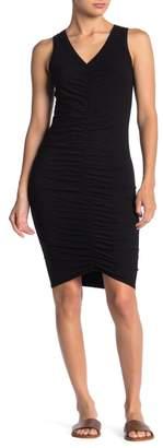 Michael Stars V-Neck Ruched Sleeveless Dress