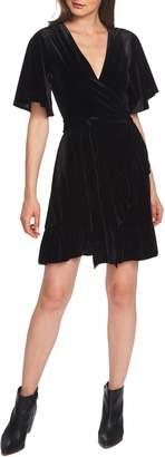 1 STATE 1.STATE Flutter Sleeve Stretch Velvet Wrap Dress