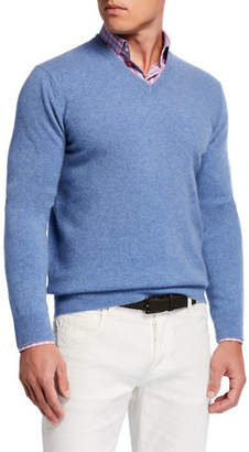 Neiman Marcus Men's Cloud Cashmere V-Neck Sweater