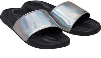268cfc27b688 Puma Womens Popcat Chrome Slide Sandals Black Silver
