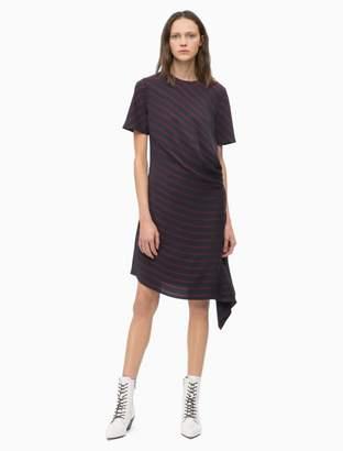 Calvin Klein diagonal stripe drape short sleeve dress