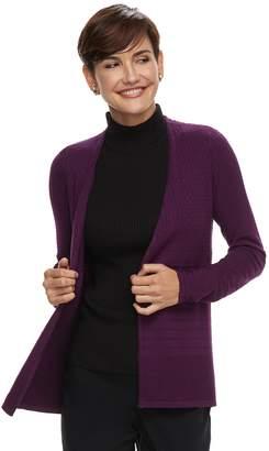 Dana Buchman Women's Mixed-Stitch Open Front Cardigan