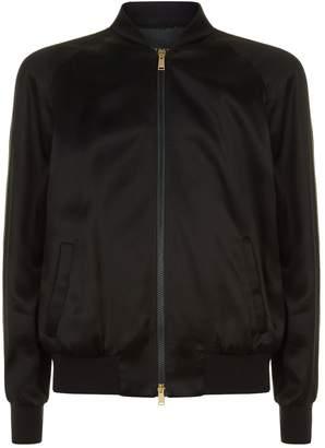 Versace Embellished Medusa Satin Bomber Jacket