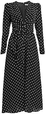 Alessandra Rich Women's Dressing For Pleasure Polka Dot Crepe De Chine Midi Dress