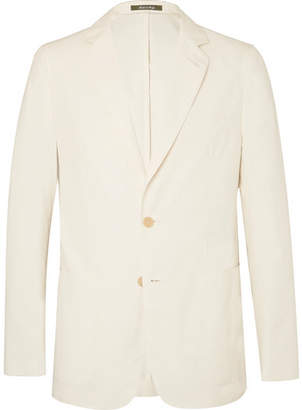 Dunhill Cream Cotton, Mulberry Silk and Linen-Blend Blazer - Cream