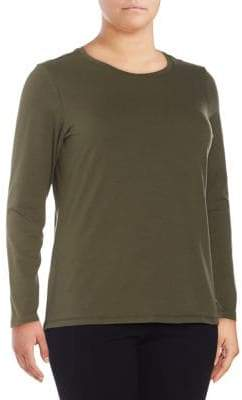 Lord & Taylor Plus Long-Sleeve Essential Crew Neck Tee