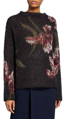 Vince Brushed Floral Long-Sleeve Sweater