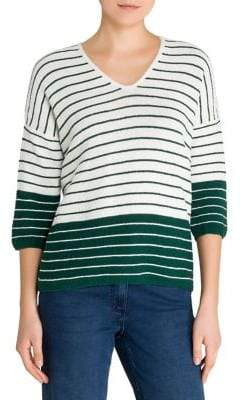 Olsen Color Love Striped Three-Quarter Sleeve Sweater