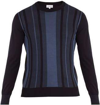 Brioni Crew-neck striped cotton and silk-blend sweater