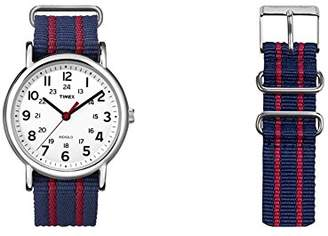Timex Unisex Special Weekender Slip Through Quartz with Off- Dial Analogue Display and Nylon Slip Strap (Dark Blue)