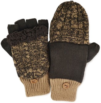 Muk Luks Colorblock Cable-Knit Convertible Mittens - Men