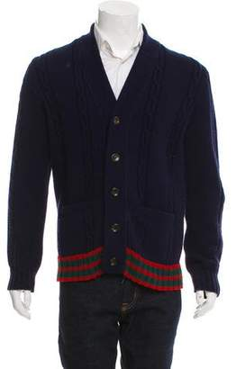 Gucci 2017 Cable Knit Web Cardigan