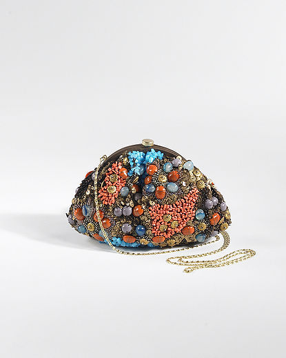 Bead-Encrusted Framed Clutch Bag with Chain