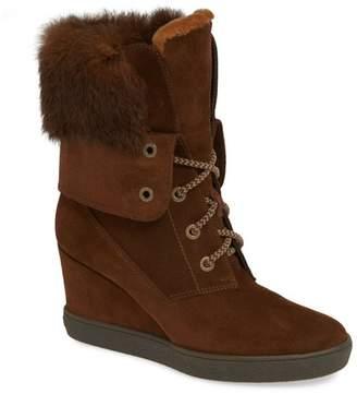 9a80d868c6dd1 Aquatalia Cordelia Water Resistant Genuine Rabbit Fur   Genuine Shearling Wedge  Boot