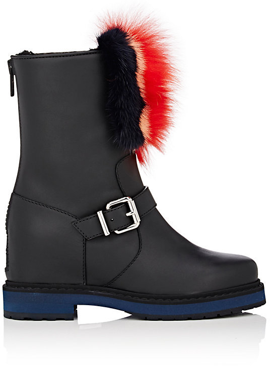 Fendi Women's Hidden-Wedge Leather Moto Boots
