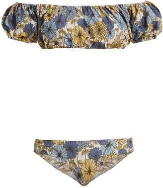 Lisa Marie Fernandez Leandra off-the-shoulder floral-print bikini