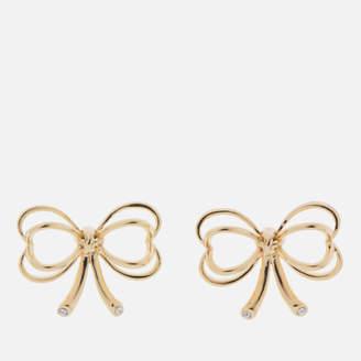 Ted Baker Women's Lakia: Small Heart Bow Stud Earrings - Pale Gold/Crystal