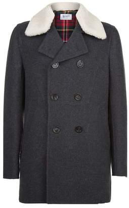 Johnstons of Elgin Shearling Collar Pea Coat