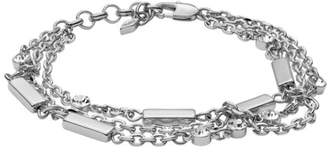 Fossil Multi-Chain Silver-Tone Brass Bracelet jewelry SILVER