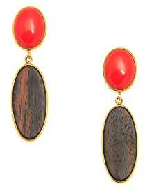 The Branch Jewellery Oval Rosewood and Synthetic Coral Stone Earring Set in Gold Plate of 6.7cm