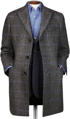 Charles Tyrwhitt Grey OverCheckered Wool Epsom Wool Coat Size 46