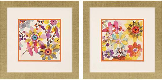 Candy Flowers Framed Wall Art - Set of 2