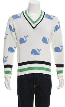 Thom Browne Patterned V-Neck Sweater