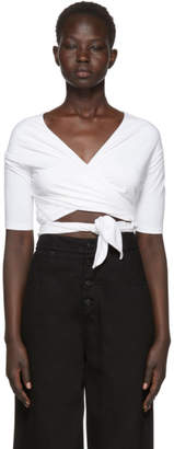 alexanderwang.t White Stretch Jersey Double Layer Wrap T-Shirt
