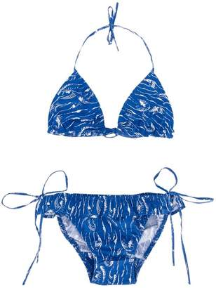 Simple wave print bikini