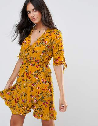 Influence Floral Wrap Dress With Tie Sleeve And Ruffle $26 thestylecure.com