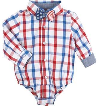 53a688dd6d47b G-Cutee Newborn Baby Boys' Red and Blue Check Shirt Bodysuit with Star  Bowtie