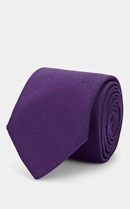 Barneys New York Men's Silk-Cotton Faille Necktie - Purple
