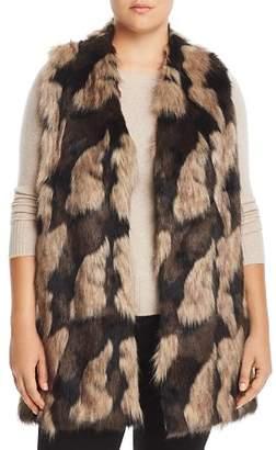 One A Plus Faux-Fur Front Sweater Vest