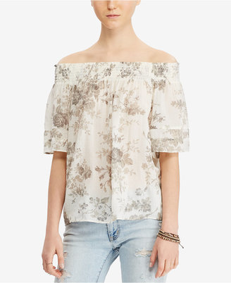 Denim & Supply Ralph Lauren Floral-Print Off-The-Shoulder Cotton Blouse $69.50 thestylecure.com