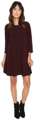 Michael Stars Modern Rayon 3/4 Sleeve Crew Neck Mini Dress Women's Dress