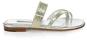 Manolo Blahnik Women's Susa Snakeskin Leather Flats