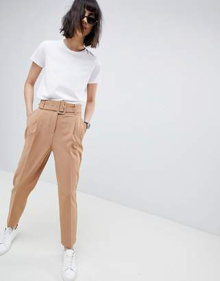 Asos Design Self Buckle And Belt Tapered Pant