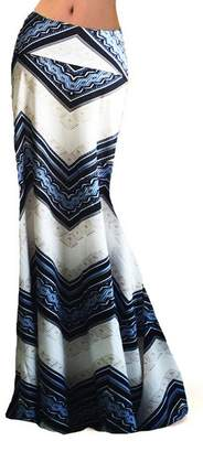 Novia's Choice Novias Women Fashion Printed High Waisted Beach Maxi Skirts Long SkirtM