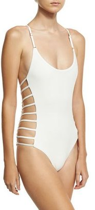 Ale by Alessandra Free Spirit Lace-Back Strappy Maillot Swimsuit, White $170 thestylecure.com
